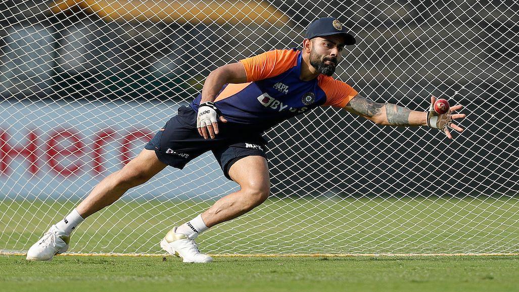 Virat Kohli during a training session.