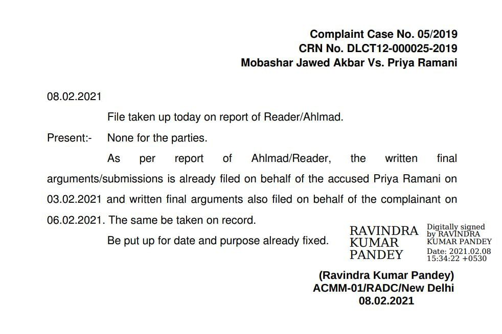MJ Akbar-Priya Ramani Defamation Case Verdict on 17 Feb