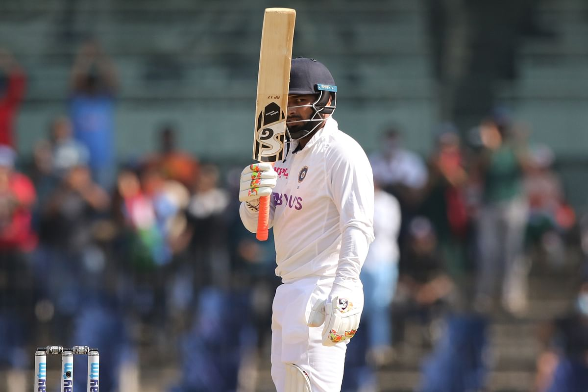 Rishabh Pant of India celebrates his fifty during day two of the second test match between India and England held at the Chidambaram Stadium stadium in Chennai, Tamil Nadu, India on the 6th February 2021