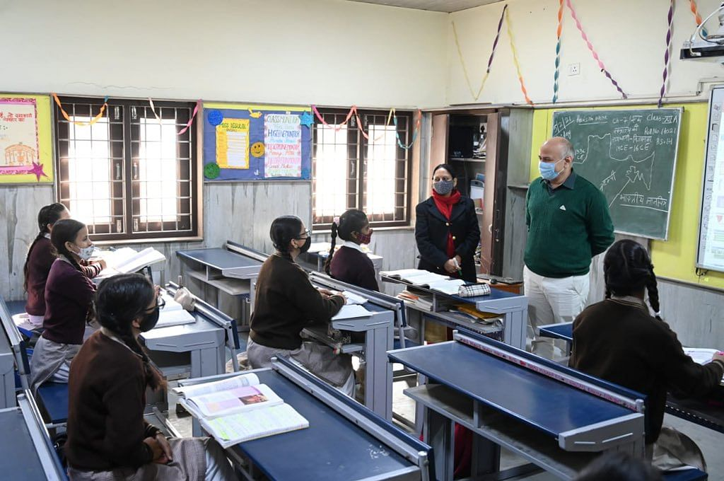 Delhi Schools Reopen for Classes 9, 11; Sisodia Visits Govt School