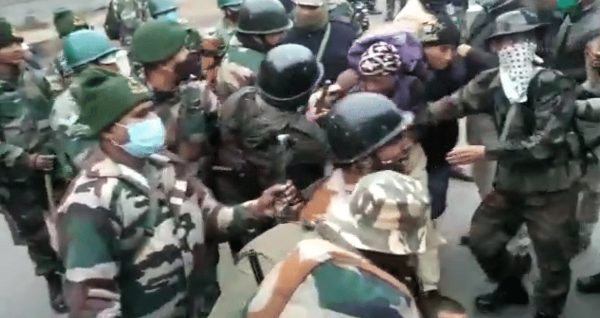 Teachers detained by the police.