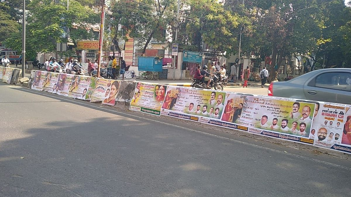 Posters of Sasikala with Jayalalithaa has been spotted in medians and walls in Chennai.