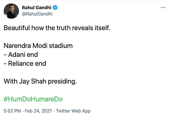 Truth Reveals Itself: Rahul on Modi Stadium's Reliance, Adani Ends