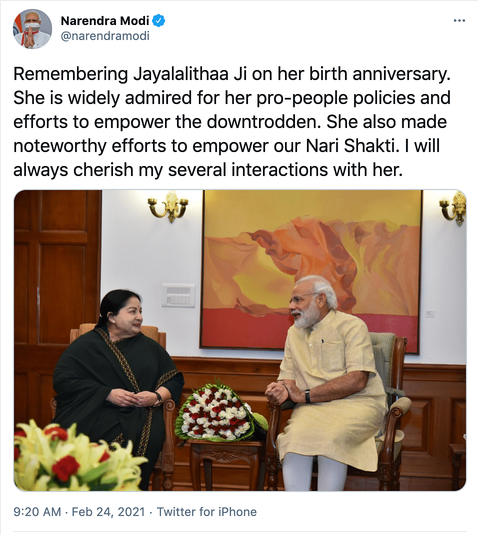 Prime Minister Narendra Modi shared a photograph in memory of the AIADMK supremo.