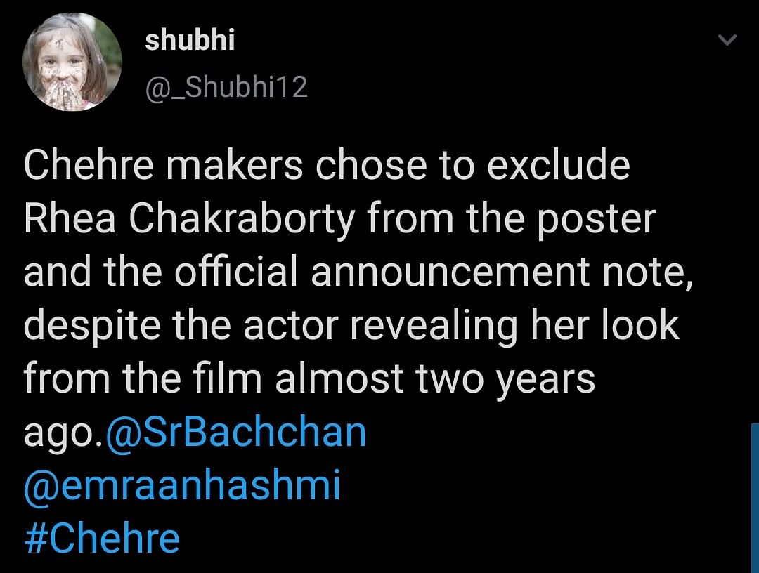 Fans Question Rhea Chakraborty's Absence From 'Chehre' Poster