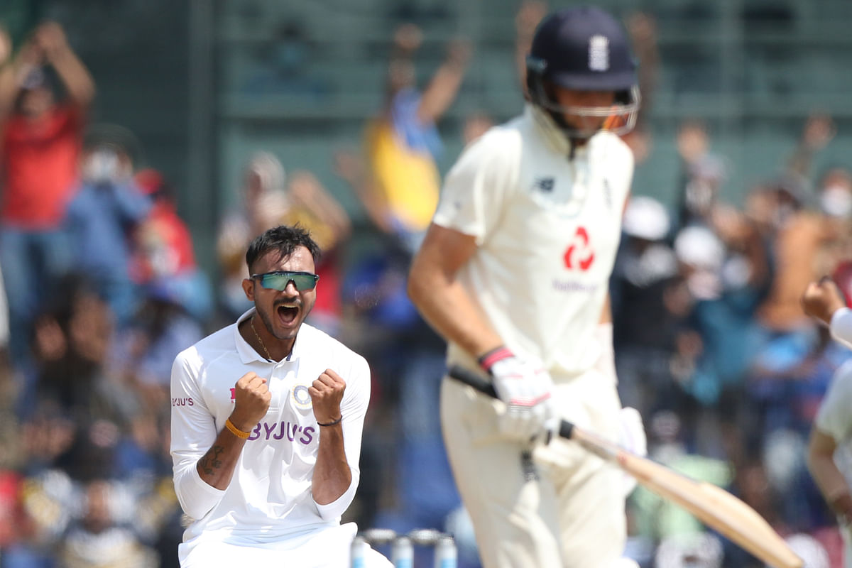 Axar Patel of India celebrates the wicket of Joe Root (captain) of England during day two of the first test match between India and England held at the Chidambaram Stadium stadium in Chennai.