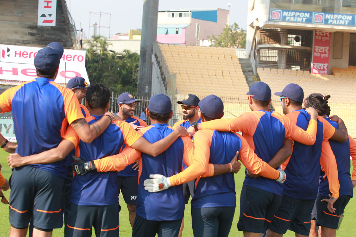 India  team make a huddle before the start of the day 1st Test day one of the first test match between India and England held at the Chidambaram Stadium stadium in Chennai, Tamil Nadu, India on the 5th February 2021