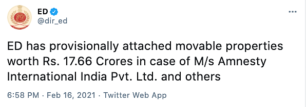 ED has provisionally attached movable properties of 17.66 crores of Amnesty and others.