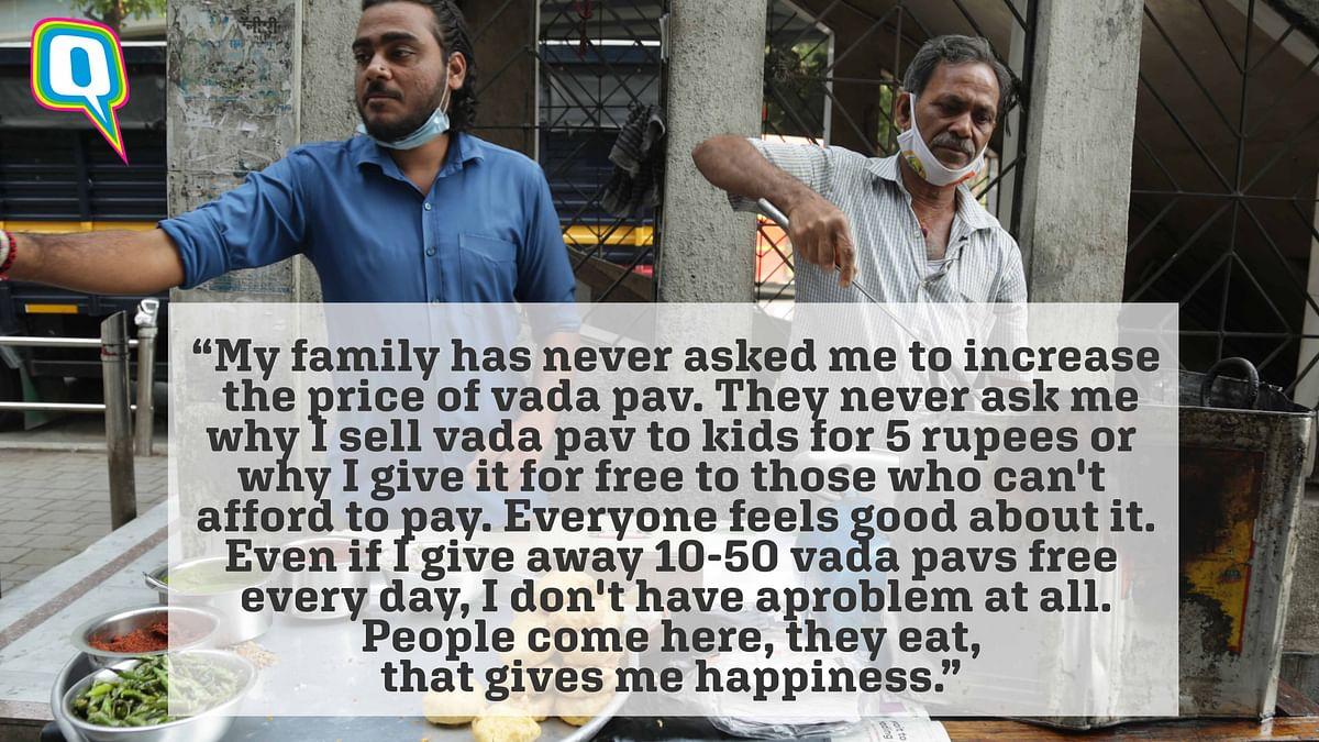 Satish Gupta with his son Arvind Gupta, at their vada pav stall in Sion.