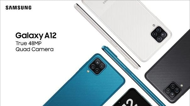Samsung Galaxy A12 available in three colour variants - black, blue and white.