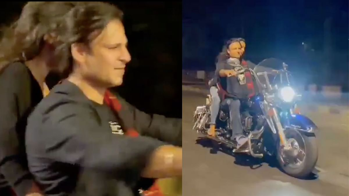 Vivek Oberoi was riding a motorbike without a helmet and a mask.