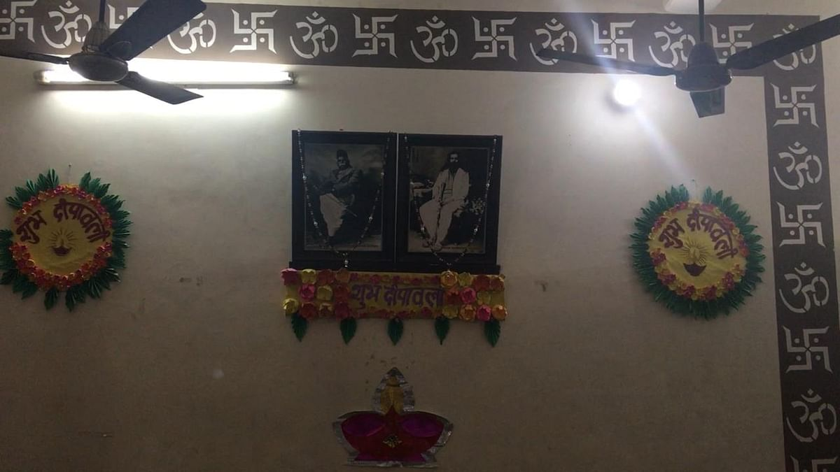 Inside the temple are photos of Dr Hedgewar, the founder of the RSS, and MS Golwakar, the second sanghsarchalak who is fondly referred to as Guruji.