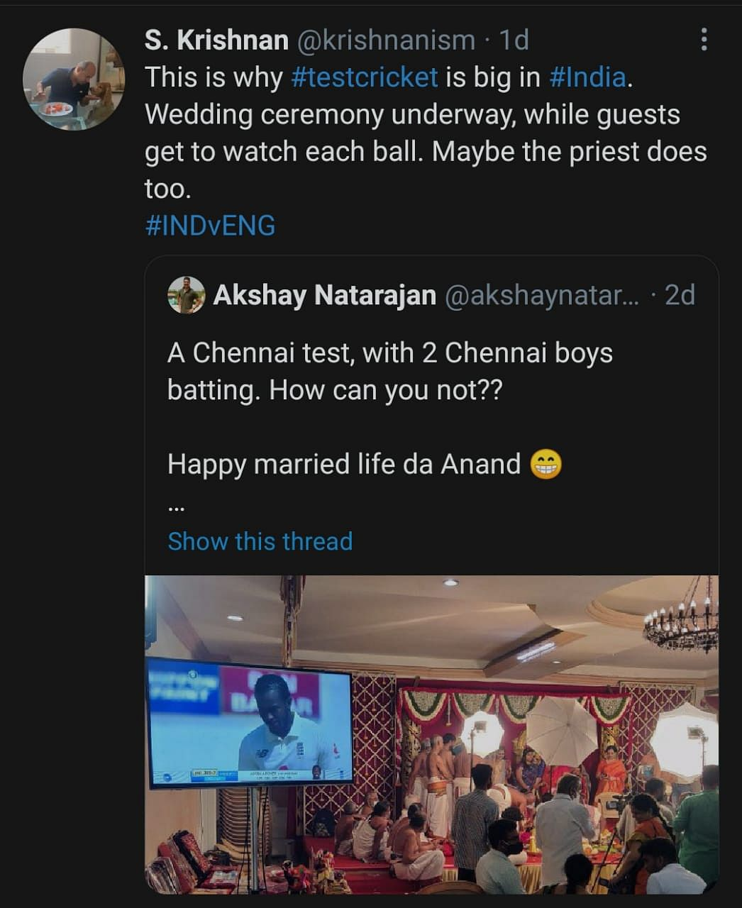 Live Screening of Cricket Match at an Indian Wedding Goes Viral
