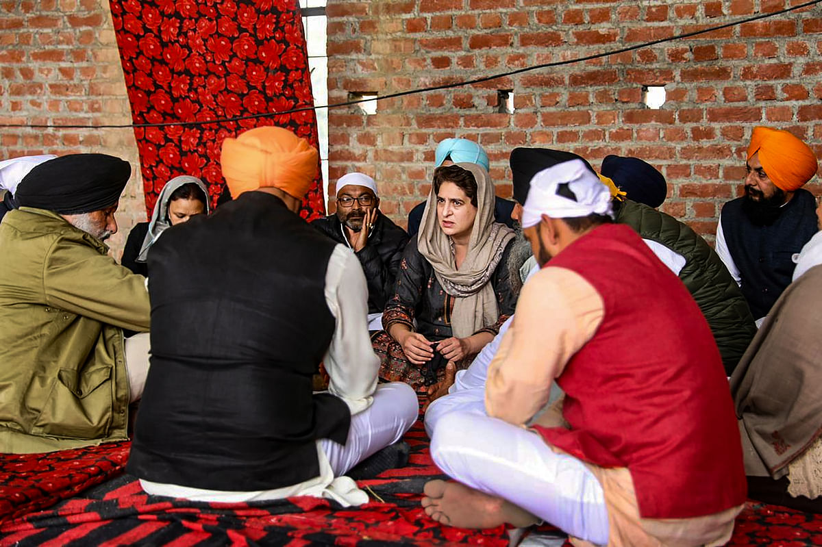 Congress General Secretary Priyanka Gandhi Vadra during her visit to family members of Navreet Singh, who died during the farmers rally on Republic Day, in Rampur district,  Thursday, 4 February, 2021.