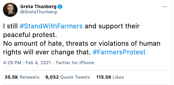 Greta Thunberg took to Twitter to write that she would still support the farmers' 'peaceful protest'.