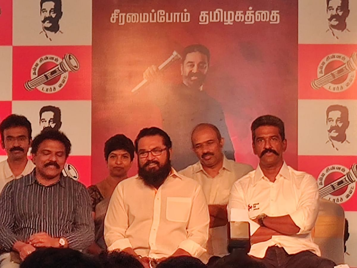 Actor Sarathkumar at the press conference called by Makkal Needhi Maiam.