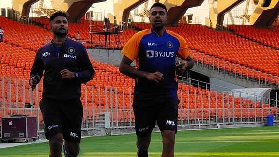 K Gowtham and R Ashwin during training at Motera.
