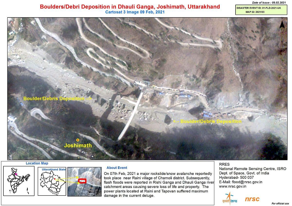 Image showing the debris deposition at Dhauli Ganga