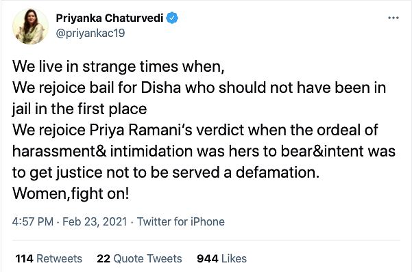 'Strange Times': Politicians, Activists React to Disha Ravi's Bail