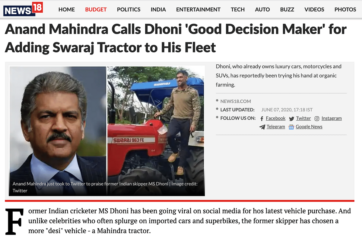 Image of Dhoni on Tractor is Old, Not Related to Farmers' Protest