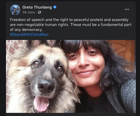 'Freedom of Speech is a Human Right': Greta Supports Disha Ravi