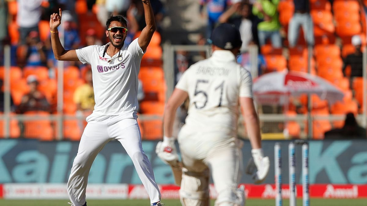 Axar Patel cleans up Jonny Bairstow for 0.