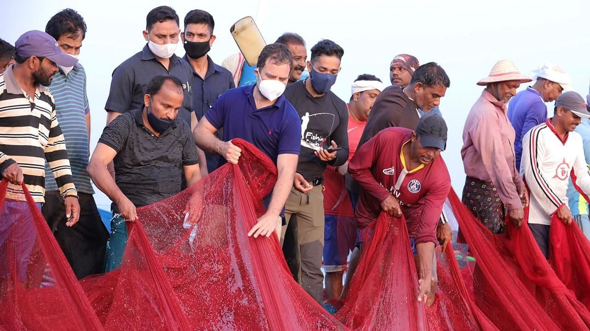 Ahead of Kerala's polls, Congress leader Rahul Gandhi on 24 February, visited and interacted with the fishermen at Thangassery beach in Kerala's Kollam district.