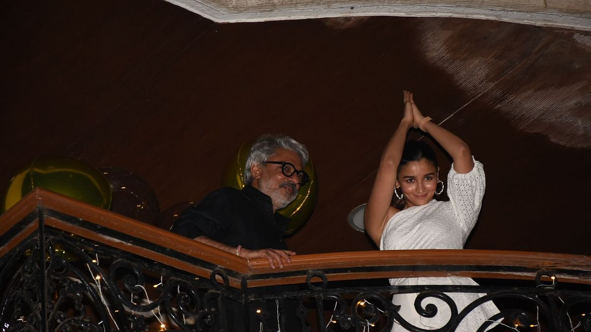 <p>Alia Bhatt and Sanjay Leela Bhansali during the latter's birthday celebrations.</p>