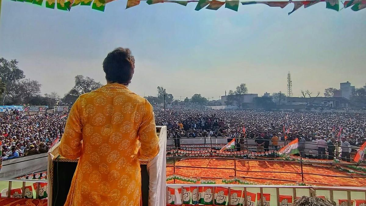 Keeping up the attack on the Narendra Modi government over farm laws, Congress leader Priyanka Gandhi on Saturday, 20 February, said that the Prime Minister smiled when farmer's union leader Rakesh Tikat wept in front of the media.