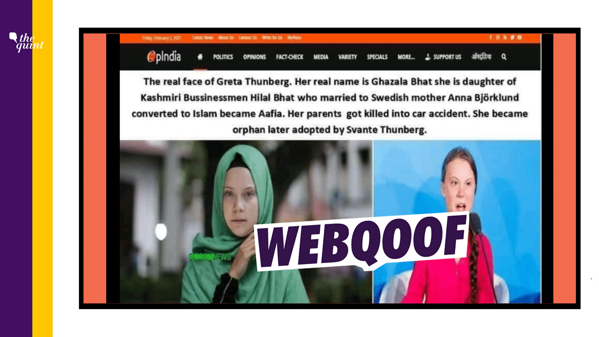 Morphed Screenshot of OpIndia Article on Greta Thunberg Goes Viral