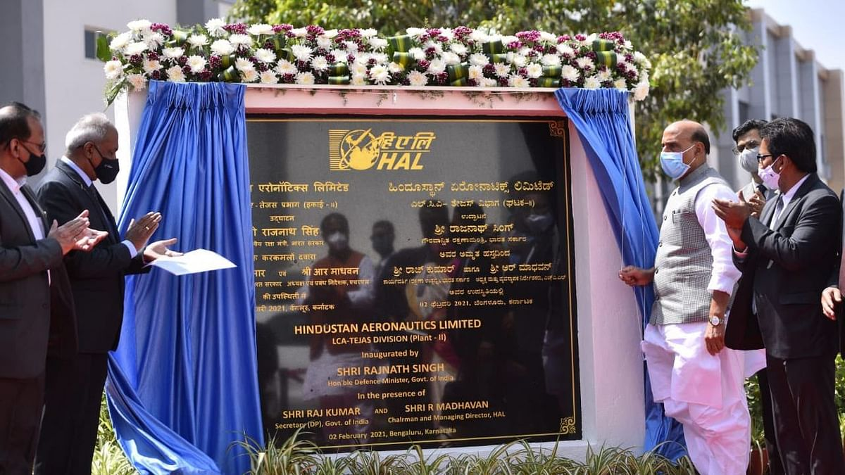 Rajnath Singh inaugurated Hindustan Aeronotics Limited (HAL) new LCA-Tejas Production Line in Bengaluru.