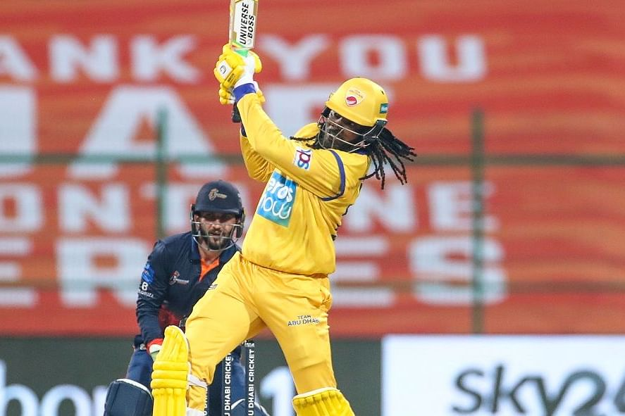 Chris Gayle smashed a 12-ball half century in the Abu Dhabi T10 League.