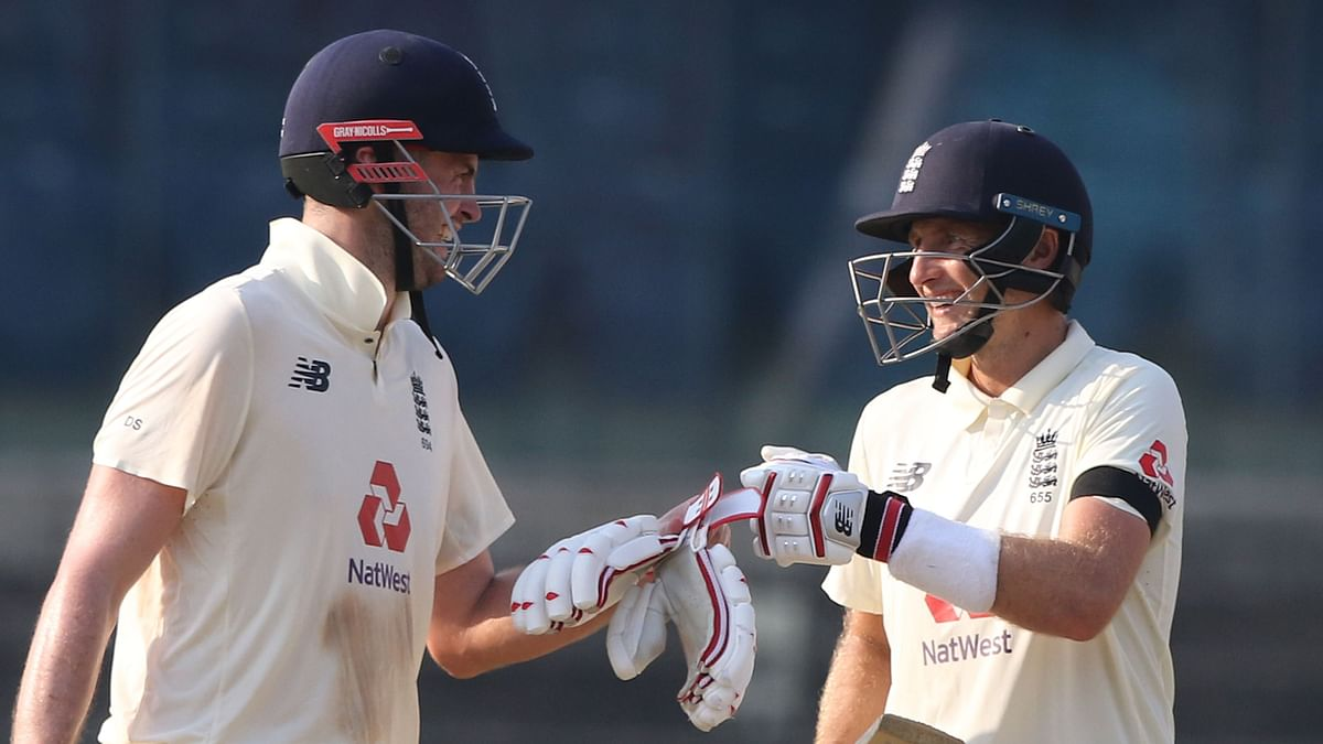 Joe Root (captain) of England and Dom Sibley of England during day one of the first test match between India and England held at the Chidambaram Stadium stadium in Chennai.