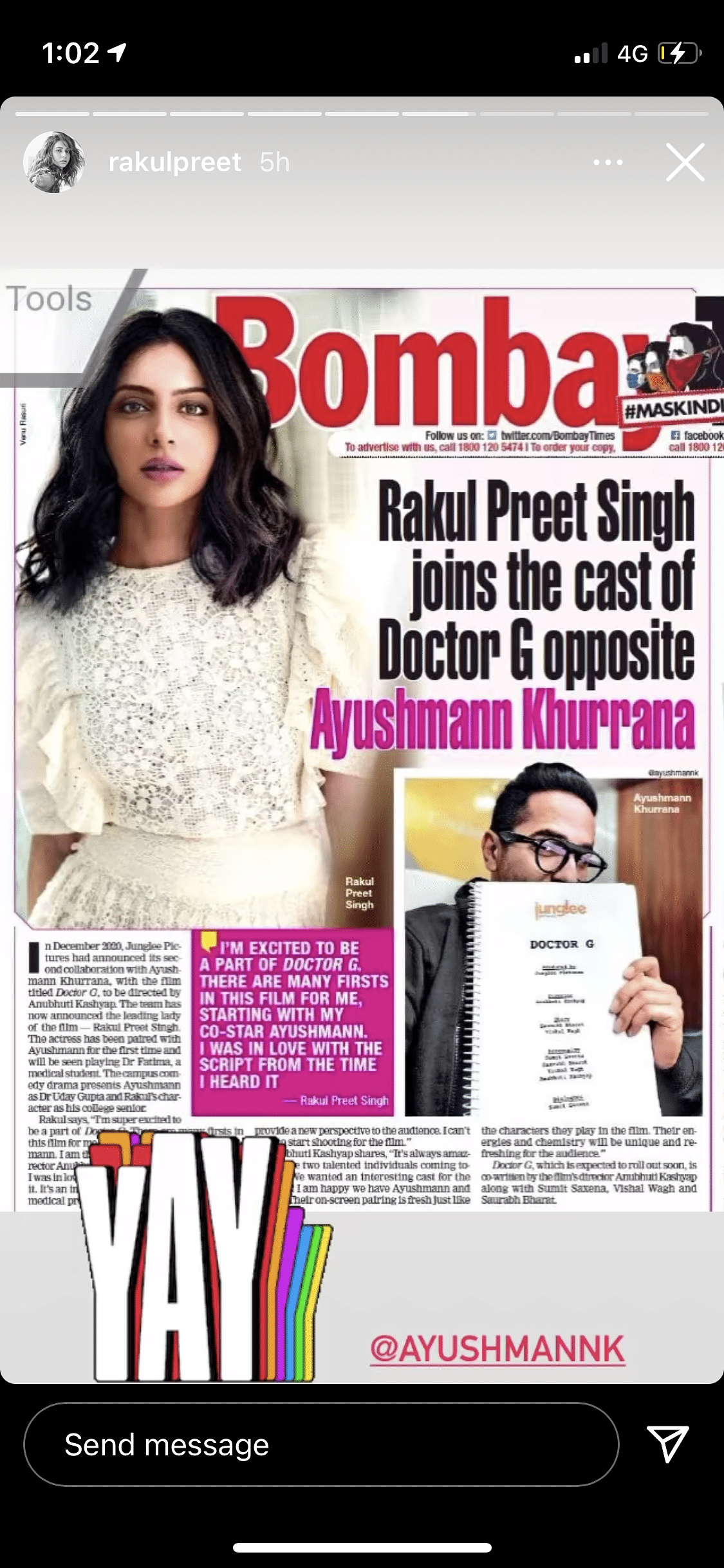 Rakul Preet Singh to Star Opposite Ayushmann in 'Doctor G'