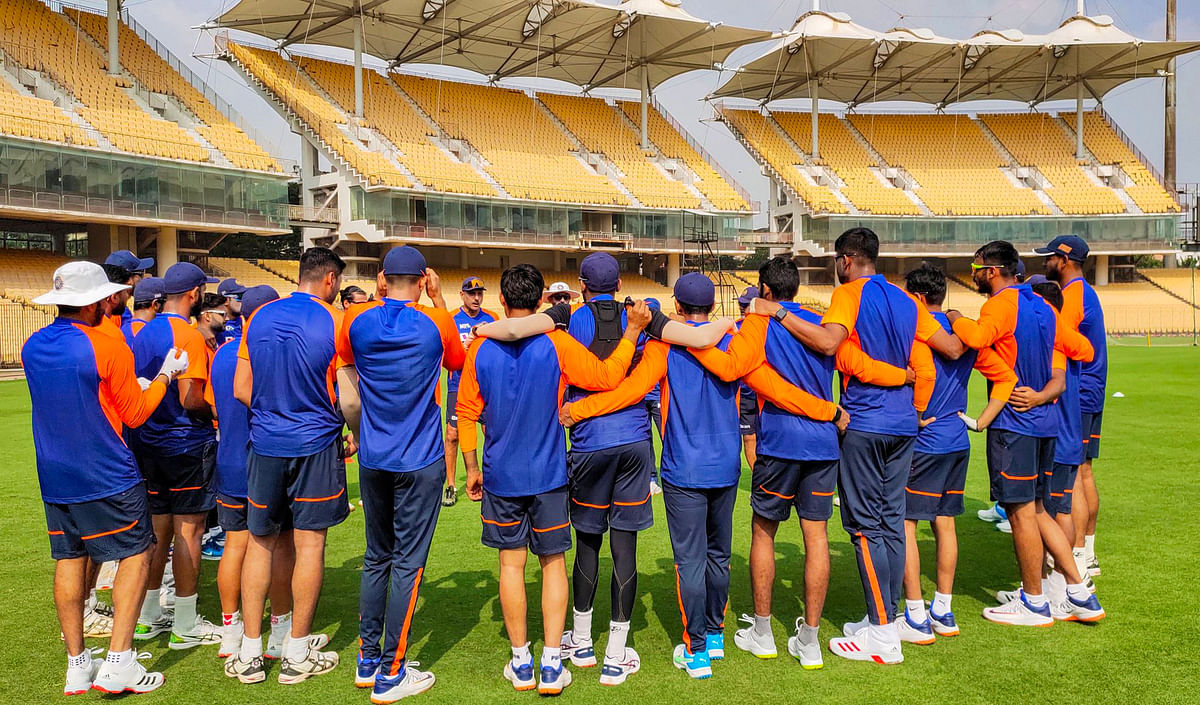 The Indian team during a training session ahead of the Test series against England.