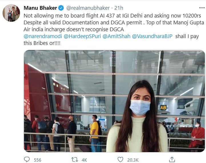 Manu Bhaker's tweet