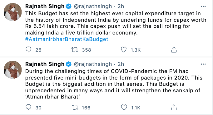 Defense Minister, Rajnath Singh tweeted in support of the 2021 Union budget.