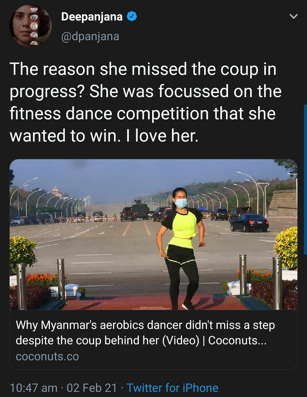 Watch: Burmese Woman Does Aerobics  As Military Coup Comes In