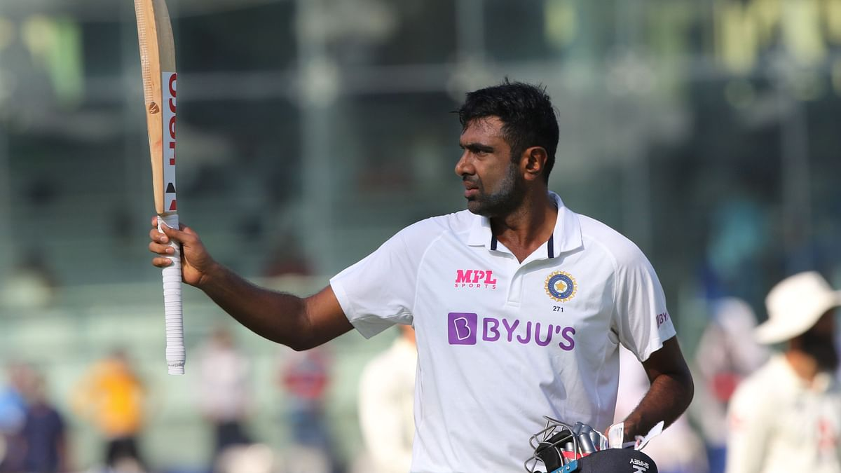 R Ashwin after completing his century in Chennai.