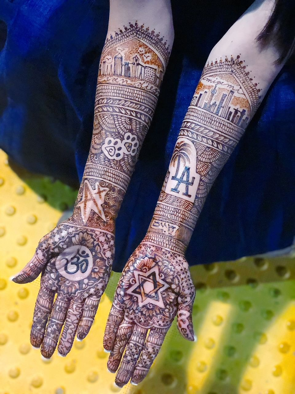 Henna capturing the coming together of a Hindu bride and Jewish groom.
