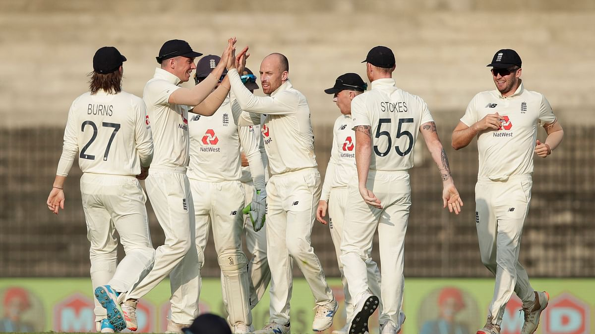 England celebrate the wicket of Rohit Sharma on Day 4 in Chennai.