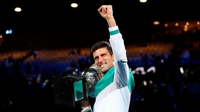 Novak Djokovic celebrates his 9th Australian Open title.