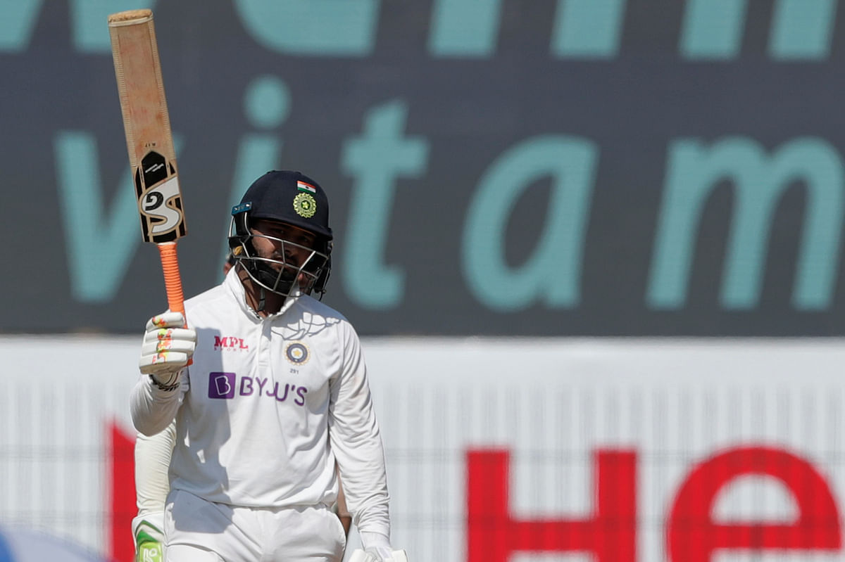 Rishabh Pant of (WK) India celebrates after scoring a fifty during day three of the first test match between India and England held at the Chidambaram Stadium stadium in Chennai, Tamil Nadu, India on the 7th February 2021