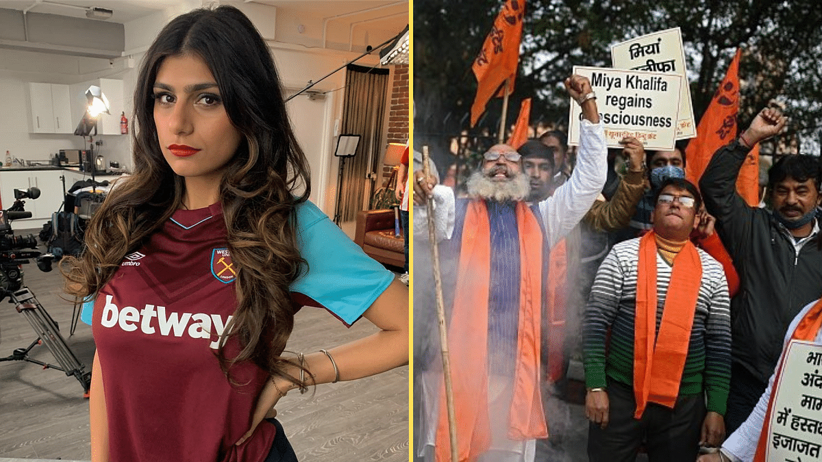 Members of the United Hindu Front held a demonstration in Delhi where they raised slogans against Mia Khalifa, Rihanna and Greta Thunberg.