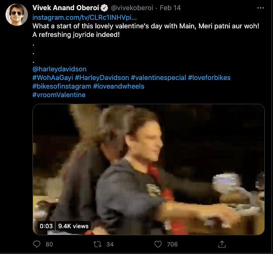 Vivek Oberoi's Twitter post.