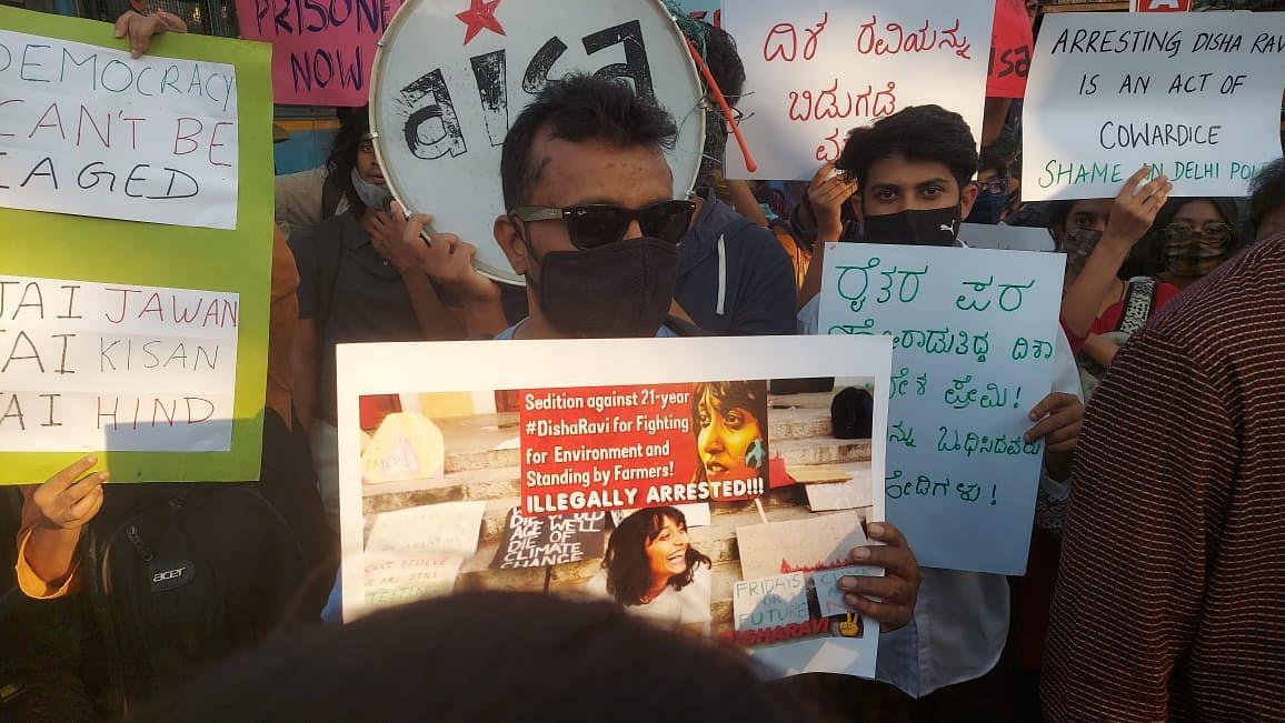 Bengaluru activists protest in solidarity with Disha Ravi.
