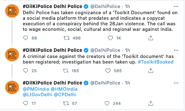 "The Delhi police said today its investigation into an ""overseas conspiracy"" taking advantage of the farmer protests was not against Greta Thunberg but a ""toolkit"" that she had tweeted."