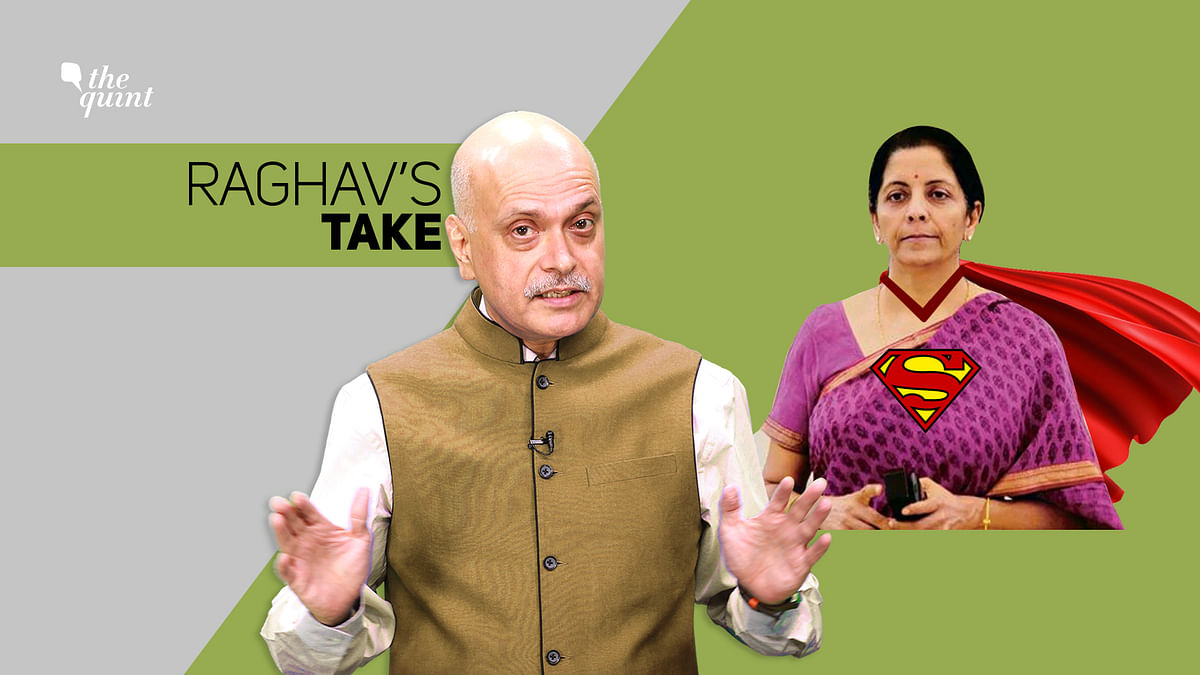 Image of <b>The Quint'</b>s Editor &amp; Co-Founder Raghav Bahl, and stylised image of Finance Minister Nirmala Sitharaman, used for representational purposes.