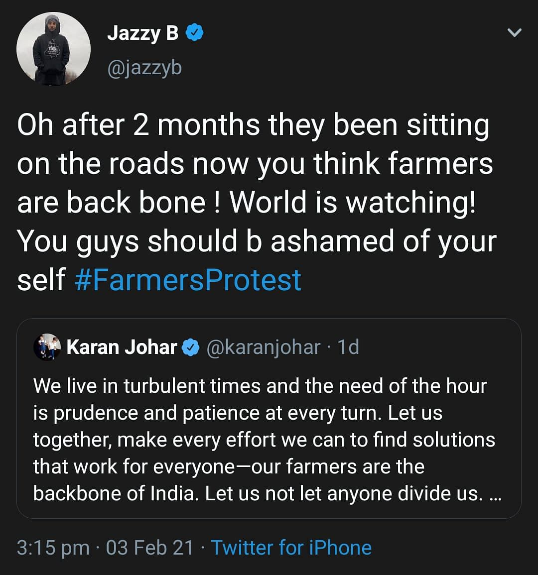 Farmers' Protest: Jazzy B Calls Out Celebrities Backing Govt