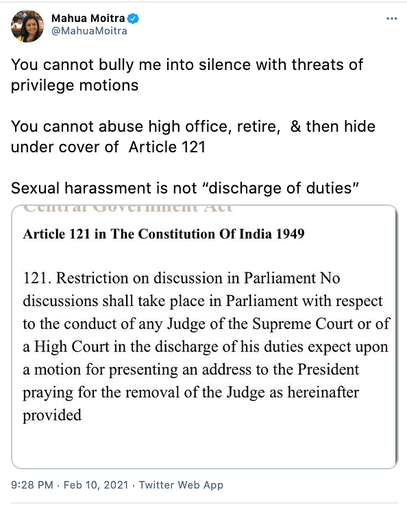 """""""You cannot bully me into silence with threats of privilege motions,"""" retorted the TMC MP."""